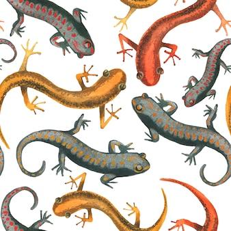 トカゲ爬虫類のシームレスパターン図。