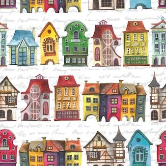 古いヨーロッパの家のシームレスなパターン。