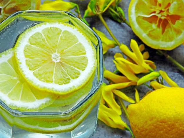 Детокс воды с лимонным соком и желтые цветы на ветвях.