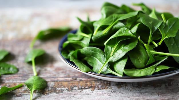 Свежий детский шпинат. помытые листья шпината на синюю тарелку. концепция диеты.