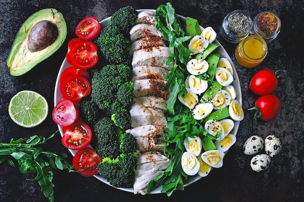 Тарелка с кето диетическое питание. набор продуктов для кетогенной диеты на тарелке. помидоры черри, отварная брокколи, куриная грудка на пару, салат с рукколой, авокадо и перепелиными яйцами. кето обед.