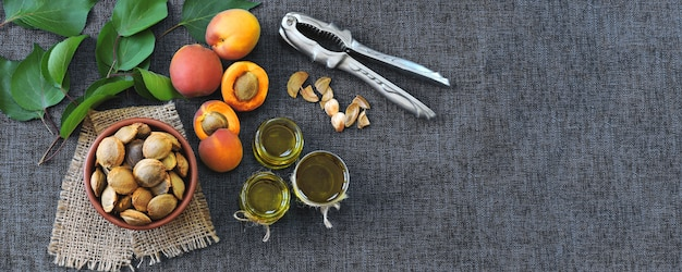アプリコット核油。アプリコット油抽出の概念。健康的なダイエット。