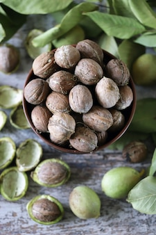 Грецкие орехи в миску. грецкий орех оставляет грецкие орехи в зеленой кожуре. урожай грецких орехов.