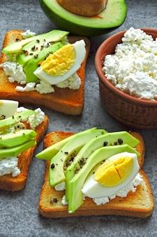 Авокадо тост с творогом и яйцом. кето завтрак или закуска.