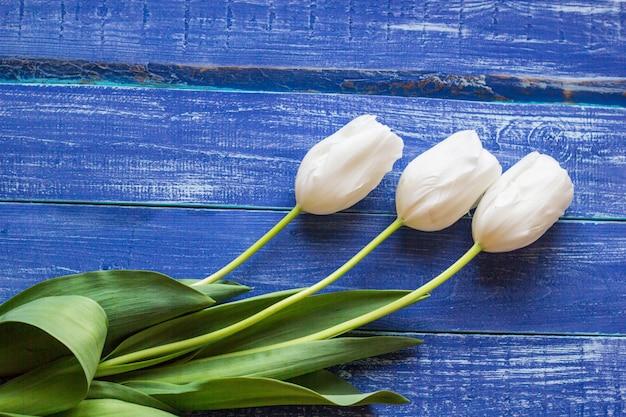 木製の塗装板に新鮮な白いチューリップ