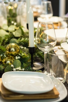 リビングルームでのクリスマスディナーのテーブル、クローズアップビュー
