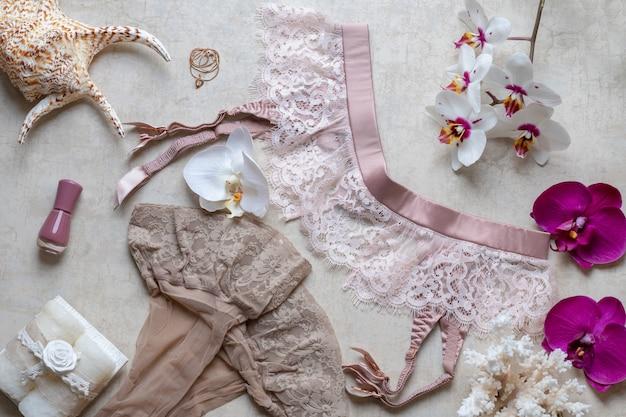 ブログ、ストッキング、化粧品、香水用ベルトの美しさの概念。