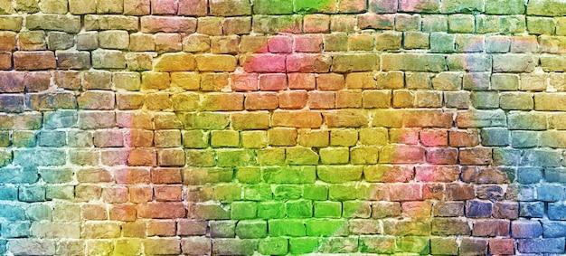 塗られたレンガの壁、抽象的な背景、多様な色