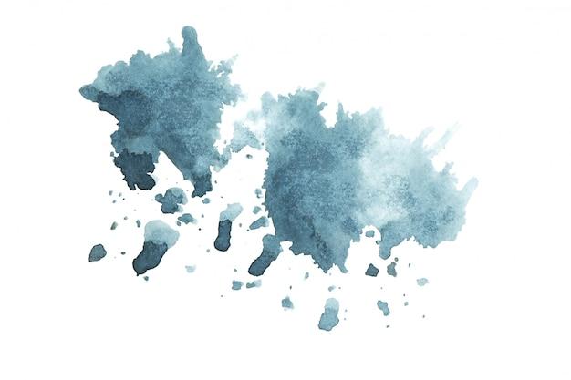 濃い青の水彩画の汚れの色合いペイントストロークの背景