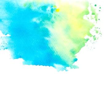 色合いと黄色の緑色の水彩画の汚れペイントストローク
