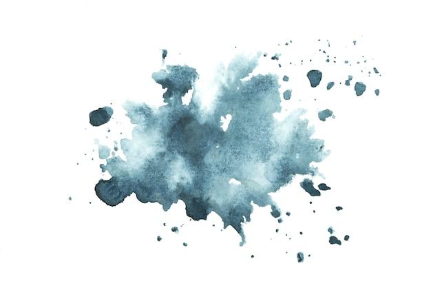 カラフルな色合いのペイントストローク背景と濃い青の水彩画