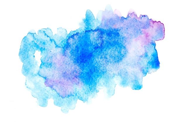 カラフルな色合いのペンキストロークの背景を持つ青い水彩画