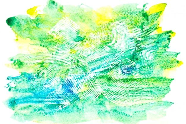 カラフルな色合いのペイントストローク背景と緑の水彩画