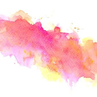 カラフルな色合いのペイントストローク背景とピンクの水彩画