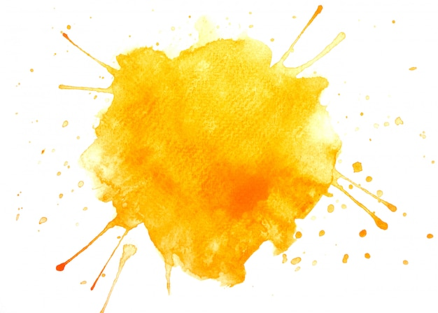 オレンジ色の水彩画の汚れペイントストローク