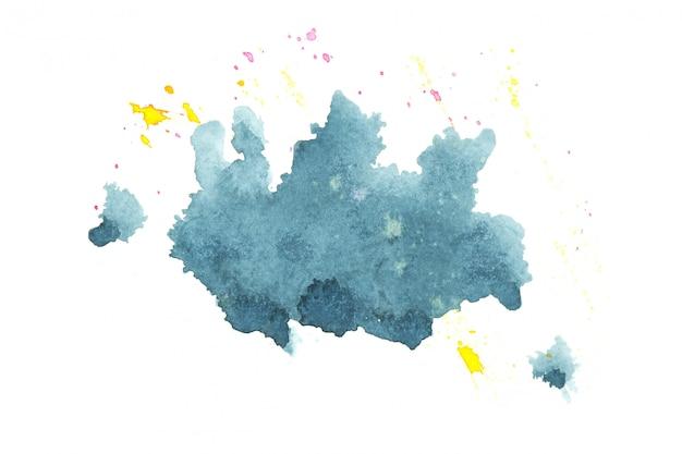 青い水彩汚れ色合いペイントストローク