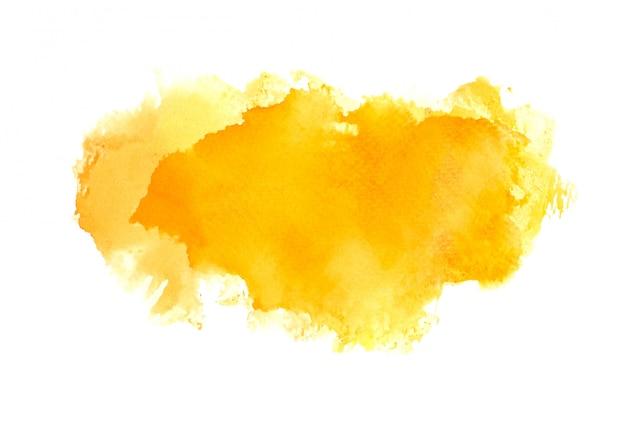 オレンジ色の水彩画の汚れ色合いペイントストローク