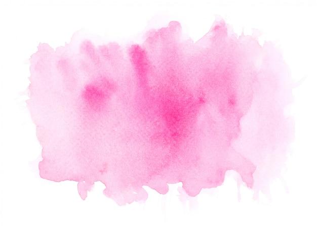 ピンクの水彩画の染み色合いペイントストローク