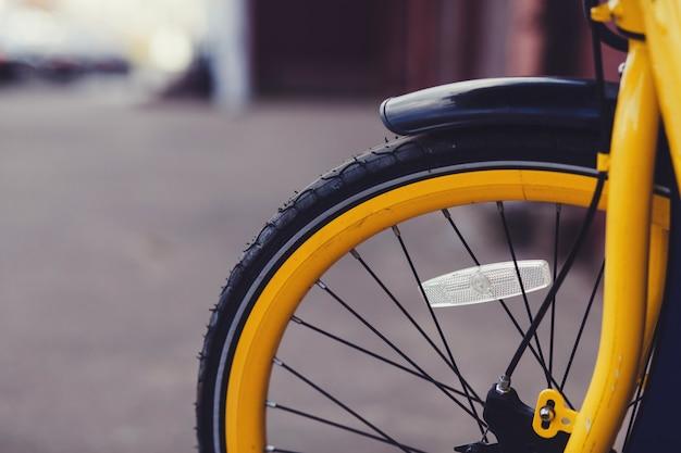 自転車ホイールのクローズアップ