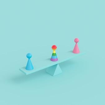 最小限の創造的な概念の人間のシンボル、グリーンシーソーにピンクとブルーのカラーオブジェクトを持つ優れた虹色のオブジェクト