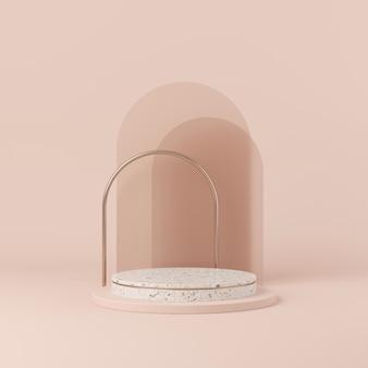 ジオメトリ形状表彰台の背景を持つ抽象的なシーンパステルカラー