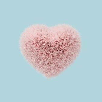 最小限の概念、パステル調の青い背景に浮かぶ毛皮のハート形ピンク色。