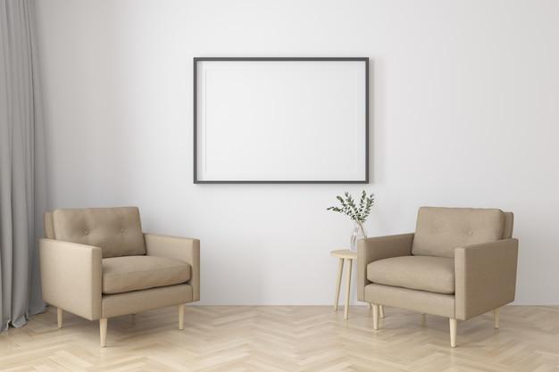 Интерьер гостиной в современном стиле с тканевыми креслами, тумбочкой и пустой черной рамкой на деревянном полу