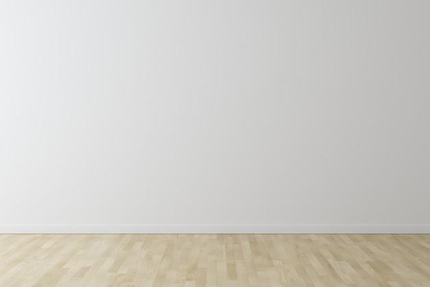 Белая стена фон с деревянным полом