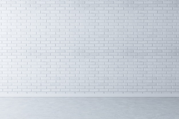 Белая кирпичная стена фон с бетонным полом