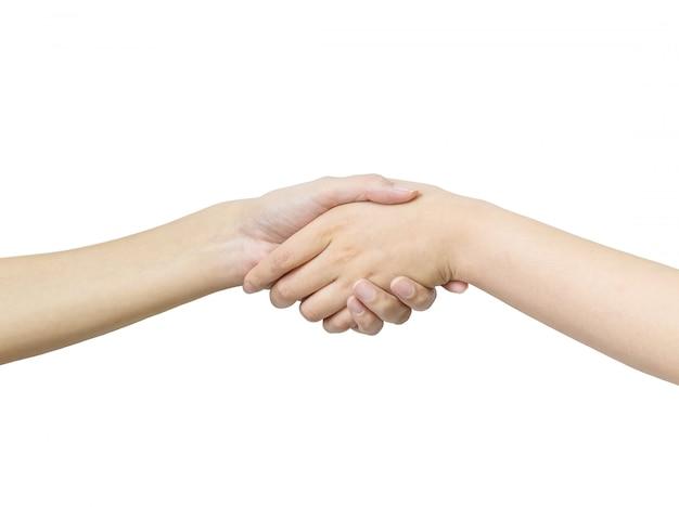 Макрофотография рука азиатские женщины пожать руку с кем-то, изолированные на белом