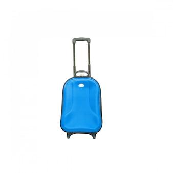 白で隔離されるクローズアップ青い荷物