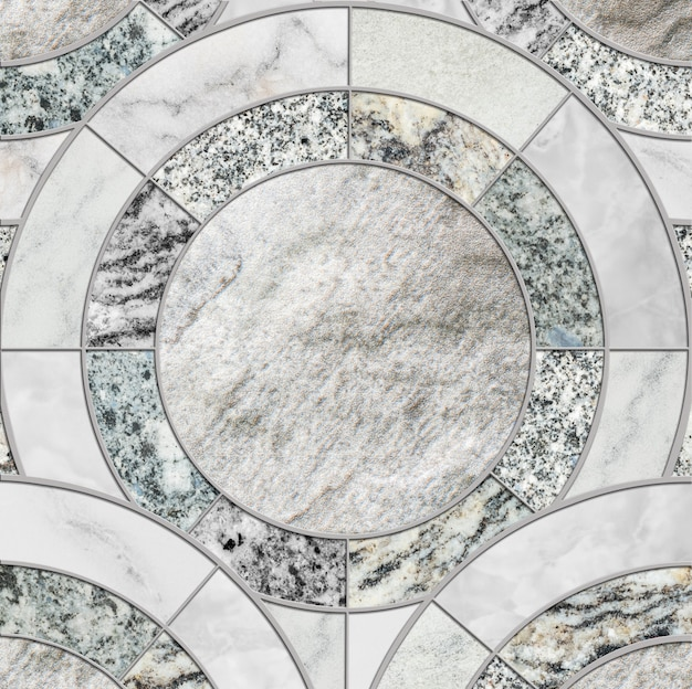 色の大理石の石造りの床のテクスチャ背景のミックスによるクローズアップ表面タイルサークル組成