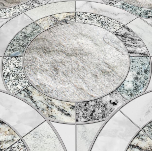 色の大理石の石造りの床のテクスチャ背景のミックスによるクローズアップ表面タイルサークルパターン
