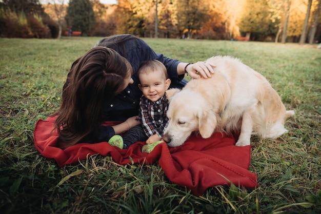 母、男の子、美しい秋の公園でのゴールデン・リトリーバー