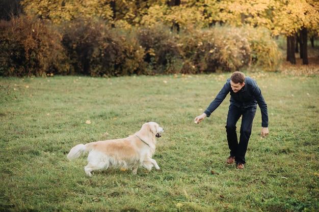 美しい秋の公園で彼のゴールデンレトリバーと遊ぶ男