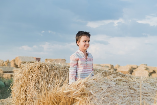 フィールドで干し草ベール近くの小さな男の子。