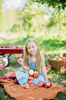 リンゴ園でリンゴを持つ少女。果樹園で有機リンゴを食べる美少女。