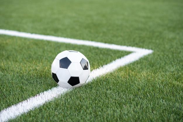 サッカー場で伝統的なサッカーボール。緑の牧草地に黒と白のサッカーボール