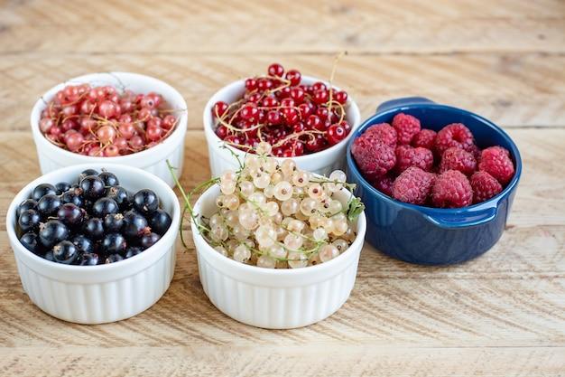 Витамины. летние ягоды. красная смородина. крупным планом, селективный фокус. концепция сбора урожая.