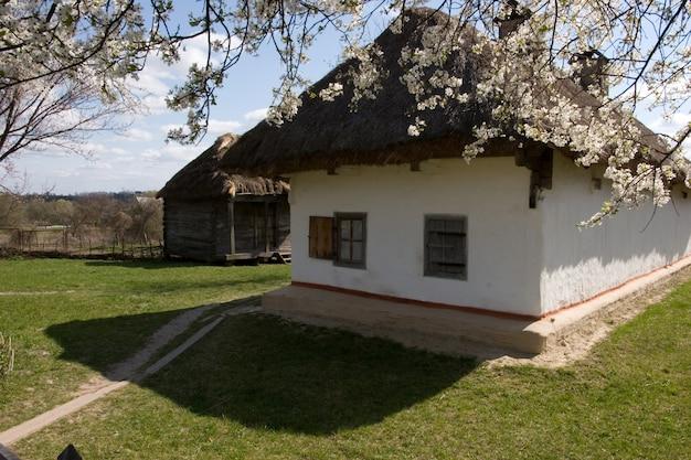 古代の伝統的なウクライナの小屋