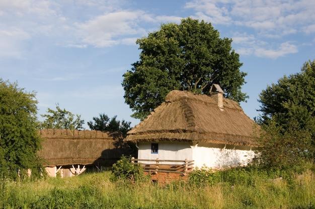 本格的なウクライナの村の家。