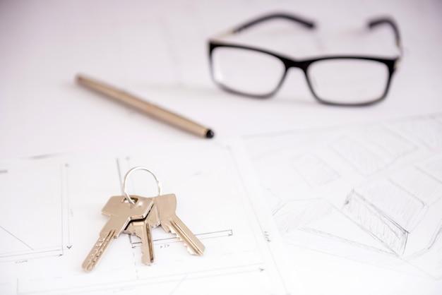 家の計画のクローズアップキー。