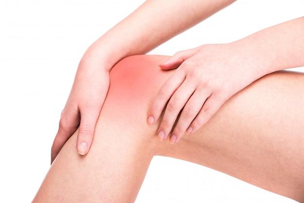 膝の怪我。女性は膝の痛みを抱えています。