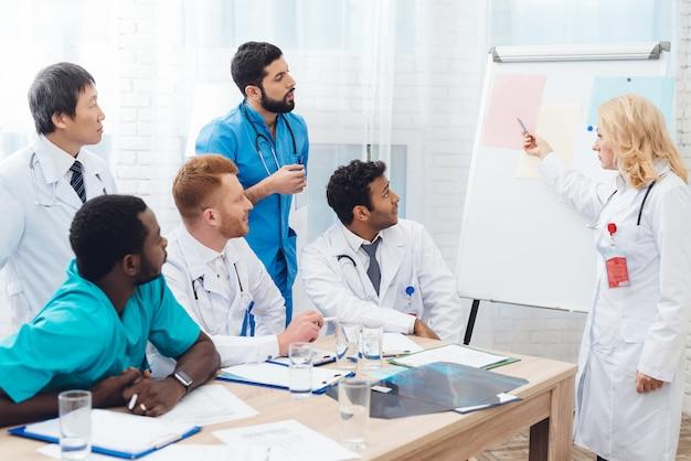 Женский доктор показывает бумагу других докторов на белой доске.