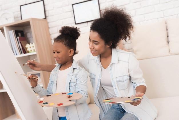 若い女性と小さな女の子が一緒に描きます。