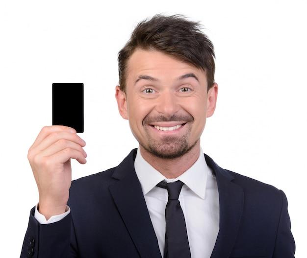 ビジネスマンショーカードと笑顔