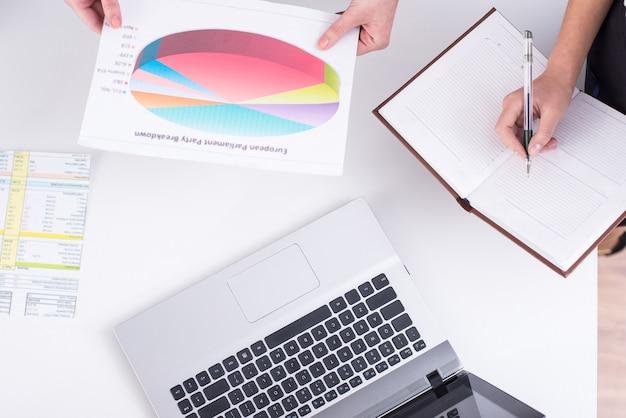 ノートパソコン、メモとテーブルの上のグラフィックの平面図です。