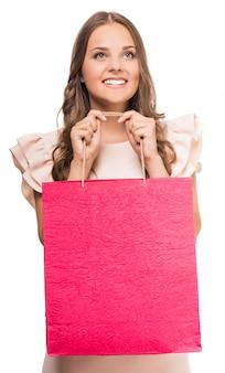 女性持株ショッピングバッグ