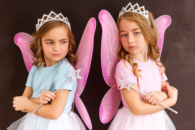 ピンクの羽の王冠と魔法の杖の両方を持つ小さな妖精。