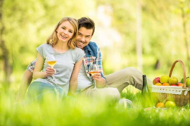 公園でピクニックにカップルし、ワインを飲みます。